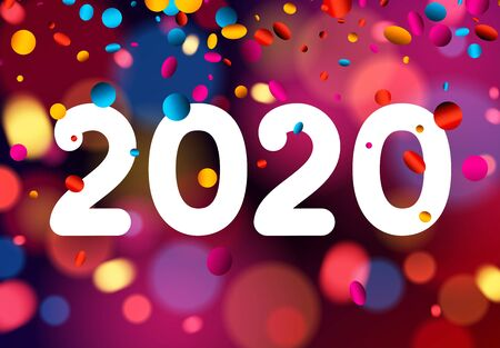 Happy New Year 2020 card with shiny colorful confetti and white text. Vector bokeh background.