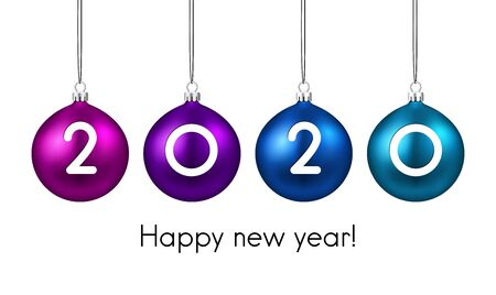 Happy new 2020 year. Christmas holiday illustration of realistic balls with 2020 numbers. Winter decoration - Vector Stock Illustratie