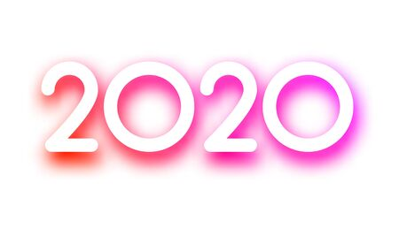 Purple spectrum 2020 new year festive sign on white background. Christmas decoration - Vector