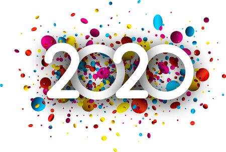 2020 new year sign with colorful round confetti on white background. Christmas illustration - vector. Stock Illustratie