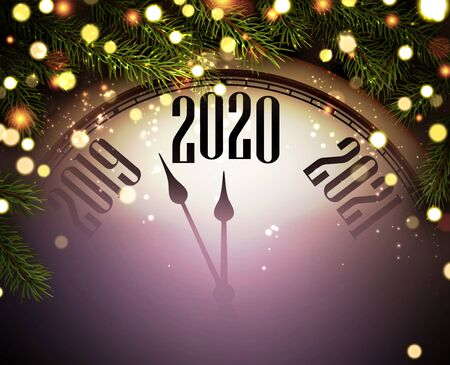 2020 new year background with clock, fir branches and defocused lights. Christmas illustration - vector.