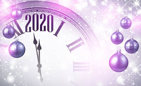 Christmas illustration. Silver shining 2020 New Year background with clock. Winter decoration - Vector Stock Illustratie