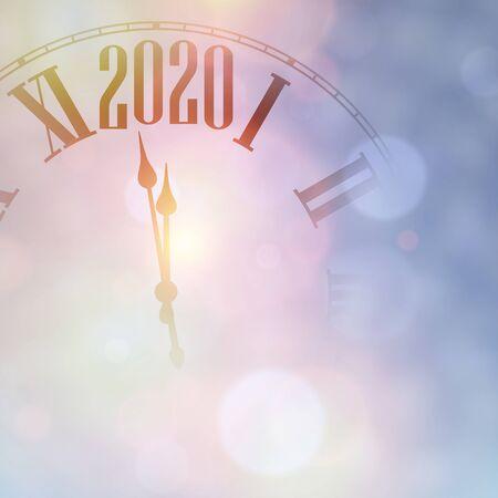 Christmas illustration. Purple shining 2020 New Year background with clock. Winter decoration - Vector  Stock Illustratie