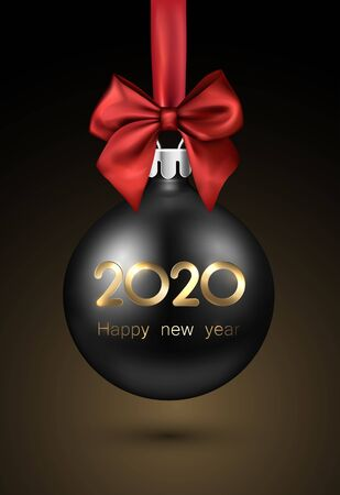 2020 New Year black ball with red satin bow. Greeting card or decoration. Winter decoration - Vector