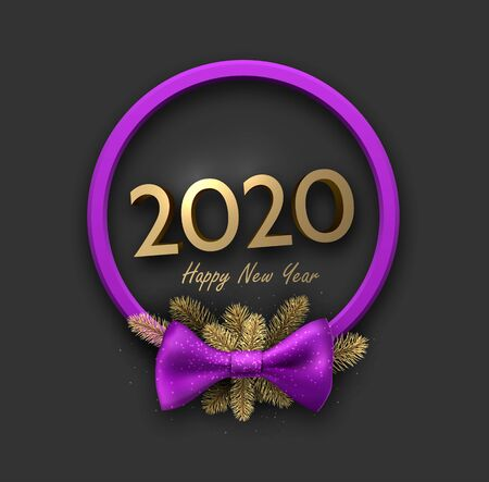 2020 happy New Year background with blue 3d purple frame and satin ribbon with beautiful bow. Winter decoration - Vector  Stock Illustratie