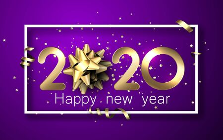 Purple shiny happy New Year background with golden 3d 2020 nubmers and gift bow. Winter decoration - Vector