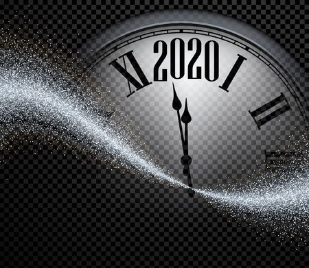 Black and silver shiny 2020 New Year transparent background with round clock. Greeting card template. Vector illustration.  Stock Illustratie
