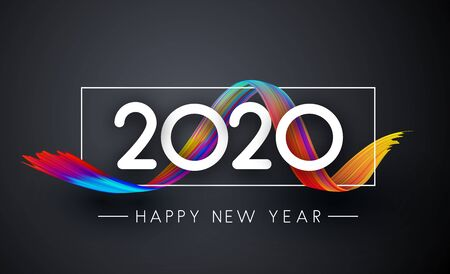 Happy New Year 2019 creative spiral poster with colorful gradient brush stroke design on grey. Vector background.