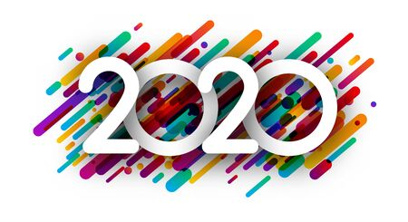 Happy New Year 2020 creative sign with abstract colorful paint strokes on white backdrop. Festive decoration. Vector background. Stock Illustratie