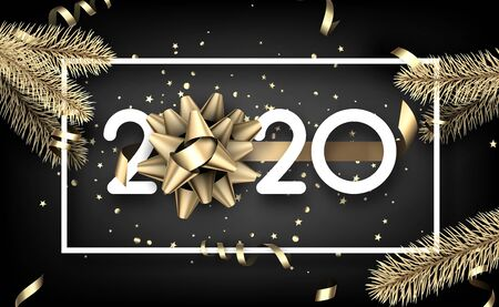 Happy New Year 2020 card with gold fir branches, paper frame and satin bow. Vector background.  Stock Illustratie