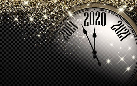 Checkered 2020 New Year shining background with clock. Vector illustration.