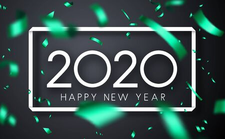 Happy New Year 2020 greeting card with white frame and green blurred confetti. Vector background.