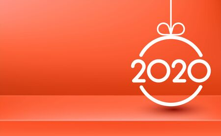 Coral 2020 New Year poster with white abstract Christmas ball. Vector background.
