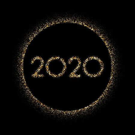 Gold round 2020 New Year sign on black background. Vector card.