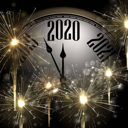 New Year 2020 card with clock and golden sparkle firework. Vector background. Stock Illustratie