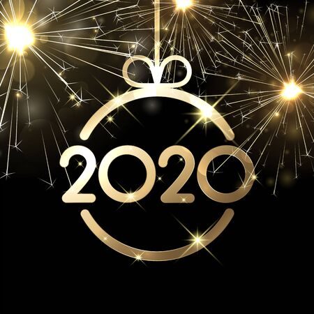 Happy New Year 2020 shiny card template with gold abstract Christmas ball. Vector black background.