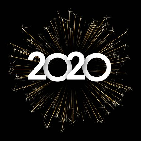 Festive 2020 New Year card with paper text and golden firework. Vector background.