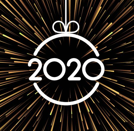 Festive 2020 New Year card with paper text and golden firework. Vector background. Stock Illustratie