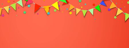 Celebrate horizontal living coral banner composed with party flags with round confetti. Vector illustration.