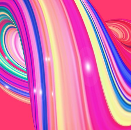 Square background with color abstract twisted shape in motion. Illustration of 3D rendered flow digital art - Vector