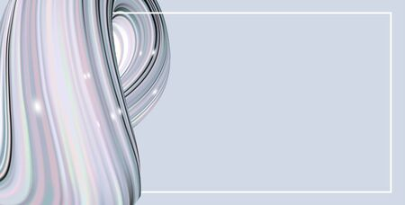 Horizontal banner with light blue color abstract twisted shape in motion. Illustration of 3D rendered flow digital art - Vector   Stock Illustratie