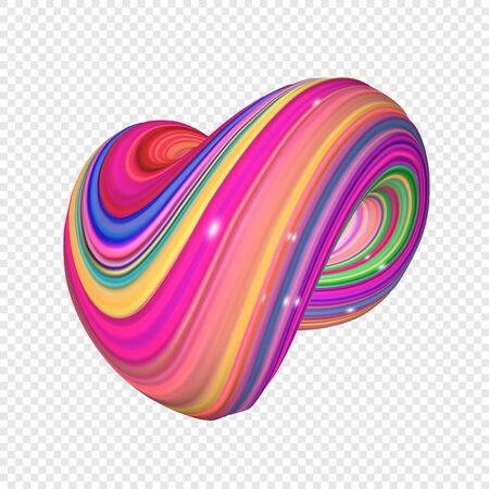 Color abstract twisted shape in motion. Illustration of 3D rendered flow digital art - Vector Stock Illustratie