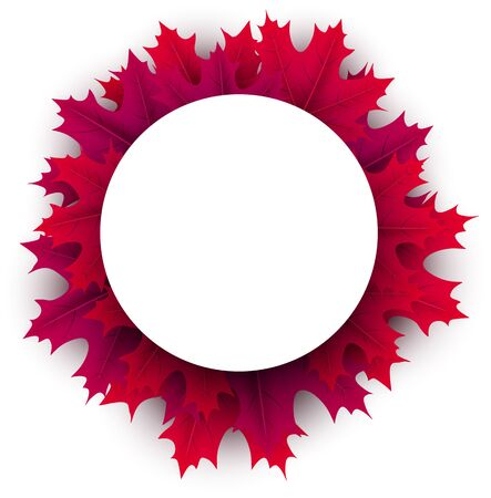 White paper round space on autumn background with beautiful crimson maple leaves. Season decoration - Vector  Stock Illustratie