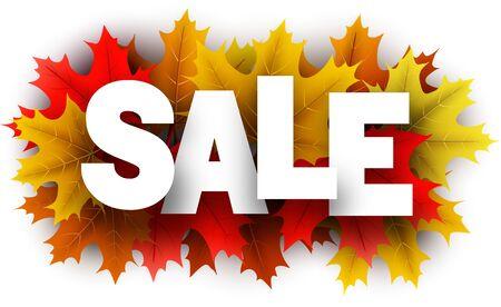 Autumn paper sale 3d letters over color maple leaves - Vector illustration.