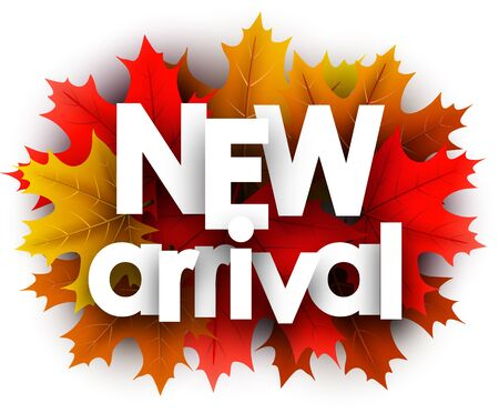 Autumn 3d paper new arrival letters over color maple leaves - Vector illustration.
