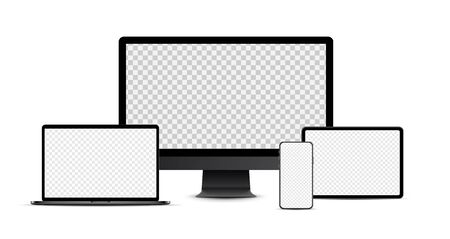 Set of black realistic electronic devices: smartphone, tablet, laptop, desktop computer with blank checkered transparent screens.  Vector illustration. 일러스트