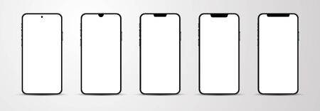Set of smartphone mockup with blank white screen.  Vector illustration.