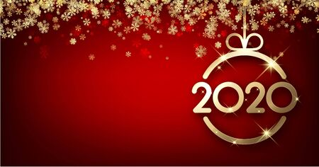 New Year 2020 red card with golden snowflakes and abstract flat Christmas ball. Vector background. 일러스트