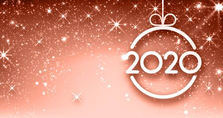 Pink shiny 2020 New Year banner with Christmas ball and snow. Vector background.