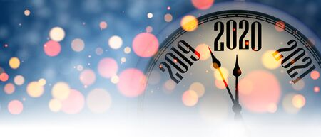 Blue blurred New Year 2020 banner with creative clock. Vector background.