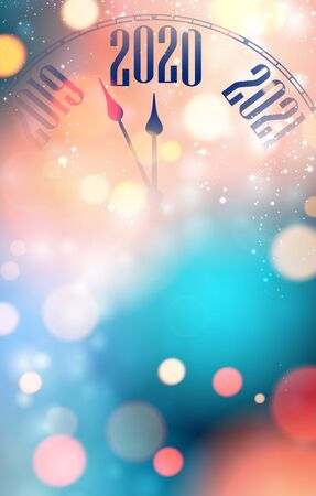 Blurred shiny New Year 2020 greeting card with clock. Festive decoration. Vector background.