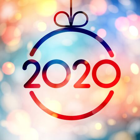Abstract shiny 2020 New Year card with Christmas ball. Bokeh effect. Vector background. 일러스트