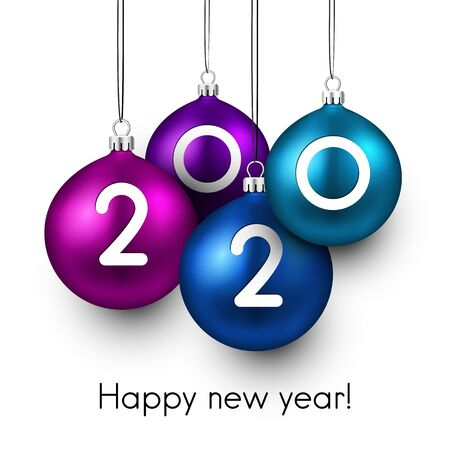 Happy new 2020 year. Christmas holiday illustration of realistic balls with 2020 numbers. Winter decoration - Vector 일러스트
