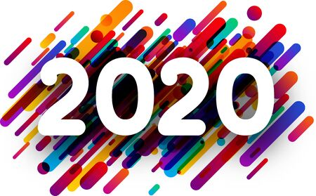 2020 new year sign with colorful paint flat strokes on white background. Christmas illustration - vector.