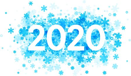 2020 new year sign with blue flat snowflakes on white background. Christmas illustration - vector. 일러스트