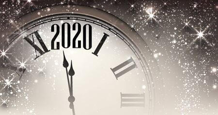 2020 new year blue background with clock and stars. Christmas illustration - vector.