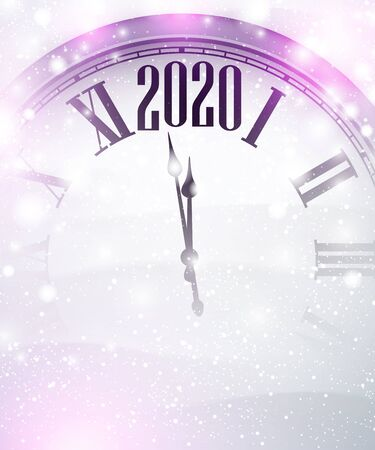 Christmas illustration. Silver shining 2020 New Year background with clock. Winter decoration - Vector 일러스트