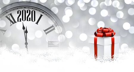 Christmas illustration. Silver shining 2020 New Year background with clock. Winter decoration - Vector