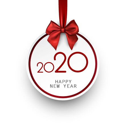 White 2020 New Year card in shape of Christmas ball with red satin bow. Greeting card or decoration. Vector paper illustration. 일러스트