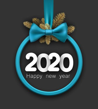 2020 happy New Year background with blue 3d round frame and satin ribbon with beautiful bow. Winter decoration - Vector