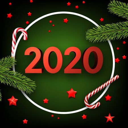 Green happy New Year background with red 3d 2020 nubmers and candies. Winter decoration - Vector