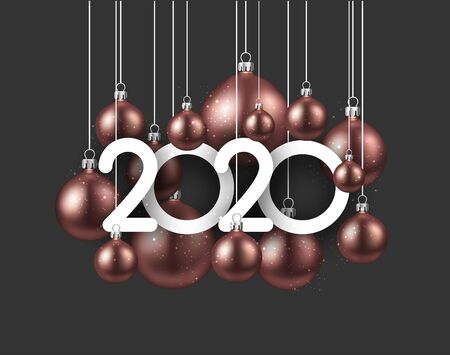 Happy new 2020 year. Christmas holiday illustration of pink realistic balls with 2020 numbers. Winter decoration - Vector