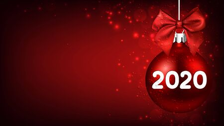 2020 New Year red ball with satin bow and glittering. Greeting card or decoration. Winter decoration - Vector