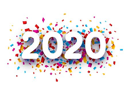 2020 new year sign with colorful confetti on white background. Christmas illustration - vector.
