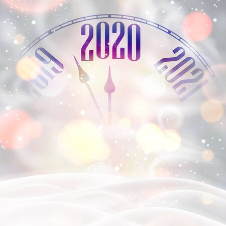 New Year 2020 shiny card with clock, snow and blizzard. Bokeh effect. Vector background.  일러스트