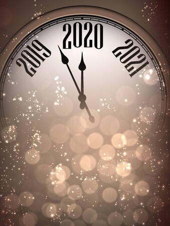 Carta dorata lucida felice anno nuovo 2020 con orologio e luci. Effetto bokeh. Sfondo vettoriale.